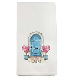 French Graffiti Blue Door Lake Bluff Towel