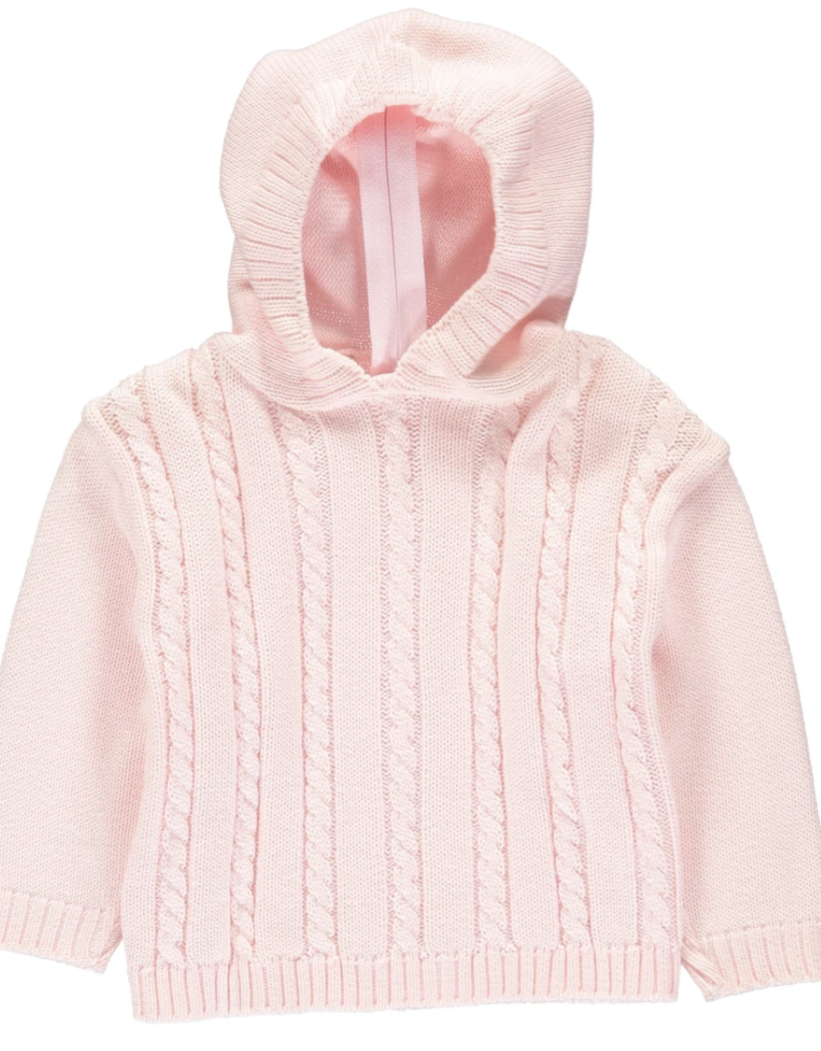 Carriage Boutique Pink Cable Hooded Sweater