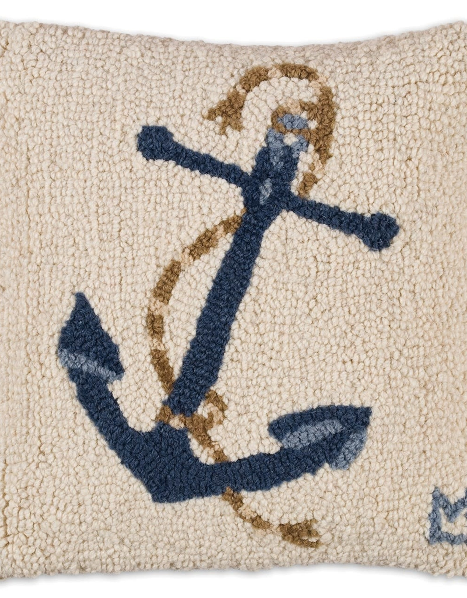 """Blue Anchor on White Hooked Pillow 14"""""""