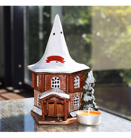 Nordic Dreams Real Santa Claus Christmas Village in Rovaniemi in Finland. Ceramic house tealight. 7,5 x 8,5 x 5,1 inches