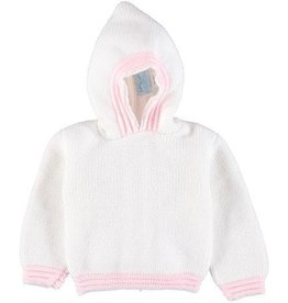Carriage Boutique Acrylic White Pink Hooded Sweater