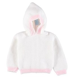 Julius Berger Acrylic White Pink Hooded Sweater