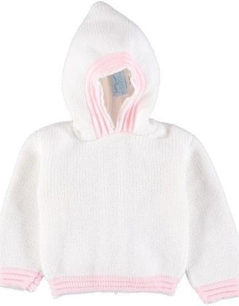 Carriage Boutique White Pink Acrylic Hooded Sweater