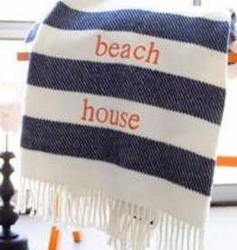 A Soft Idea Candy Stripe Throw Navy