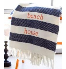 A Soft Idea Candy Stripe Throw Navy