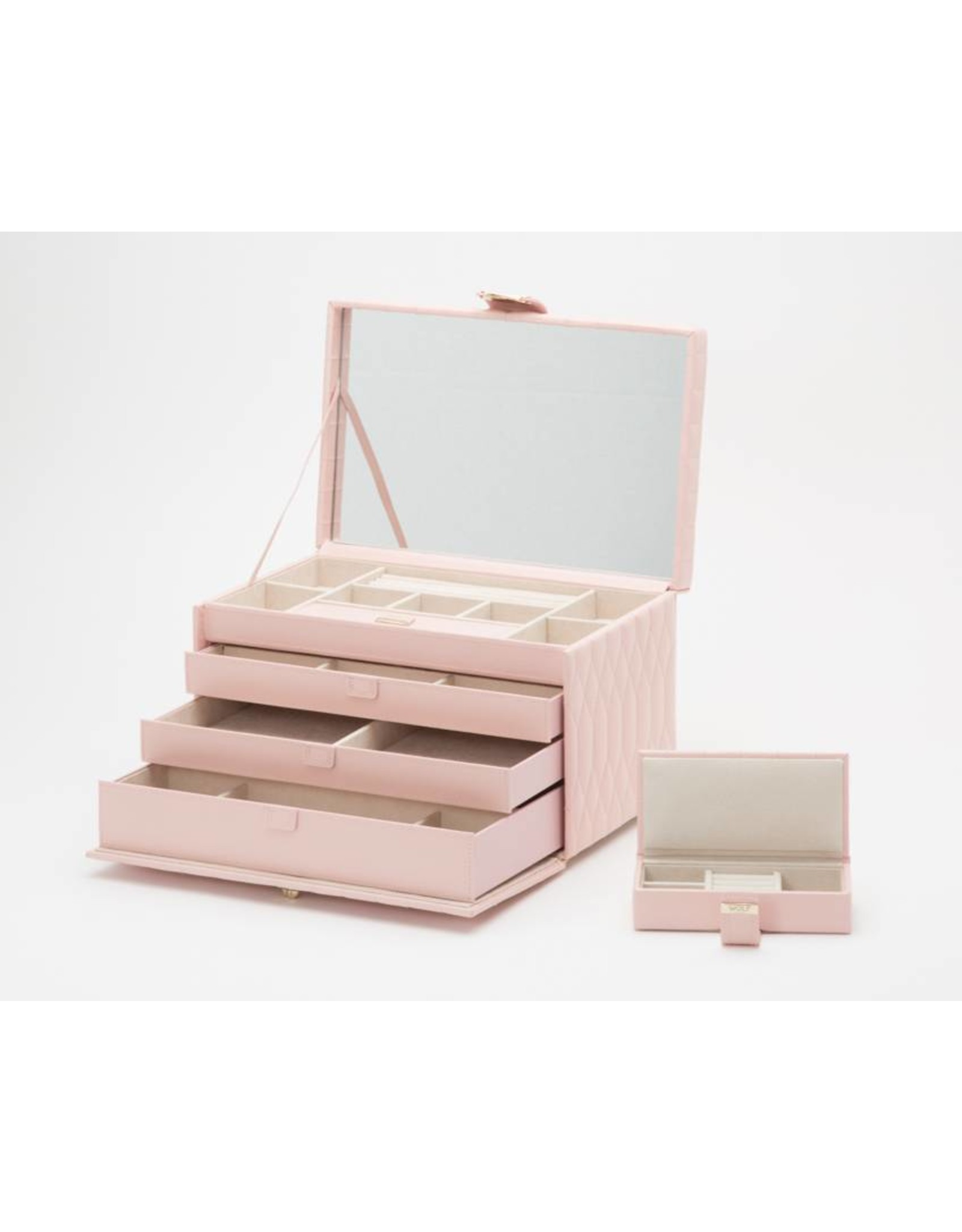 Wolf Caroline Large Jewelry Box Rose Quartz