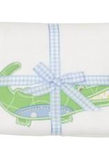 Three Marthas Burp Appliqued Blue Alligator