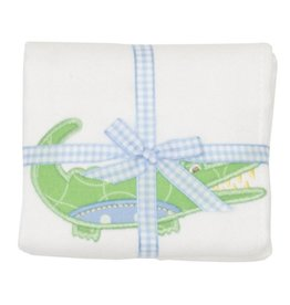 Three Marthas Burp Appliqued Blue Alligator