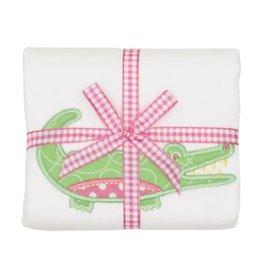 Three Marthas Burp Appliqued Pink Alligator