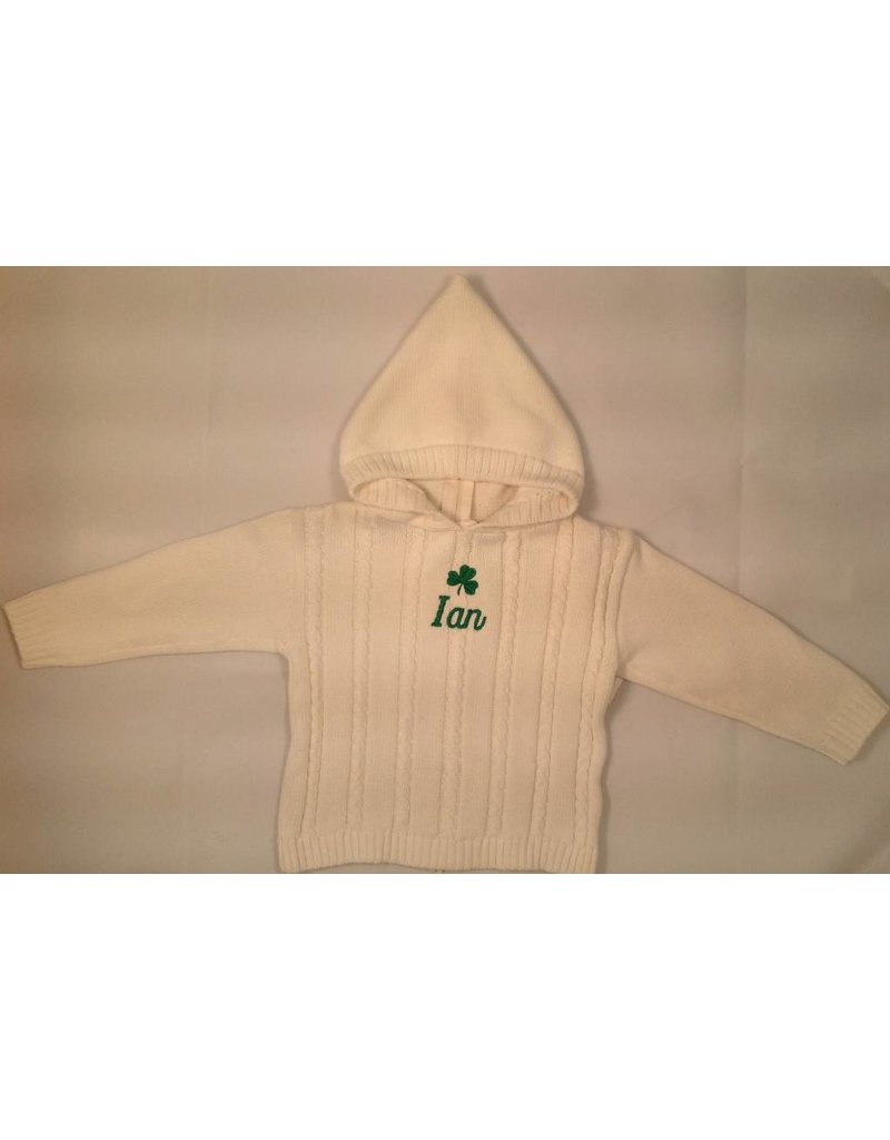 Carriage Boutique White Cable Hooded Sweater