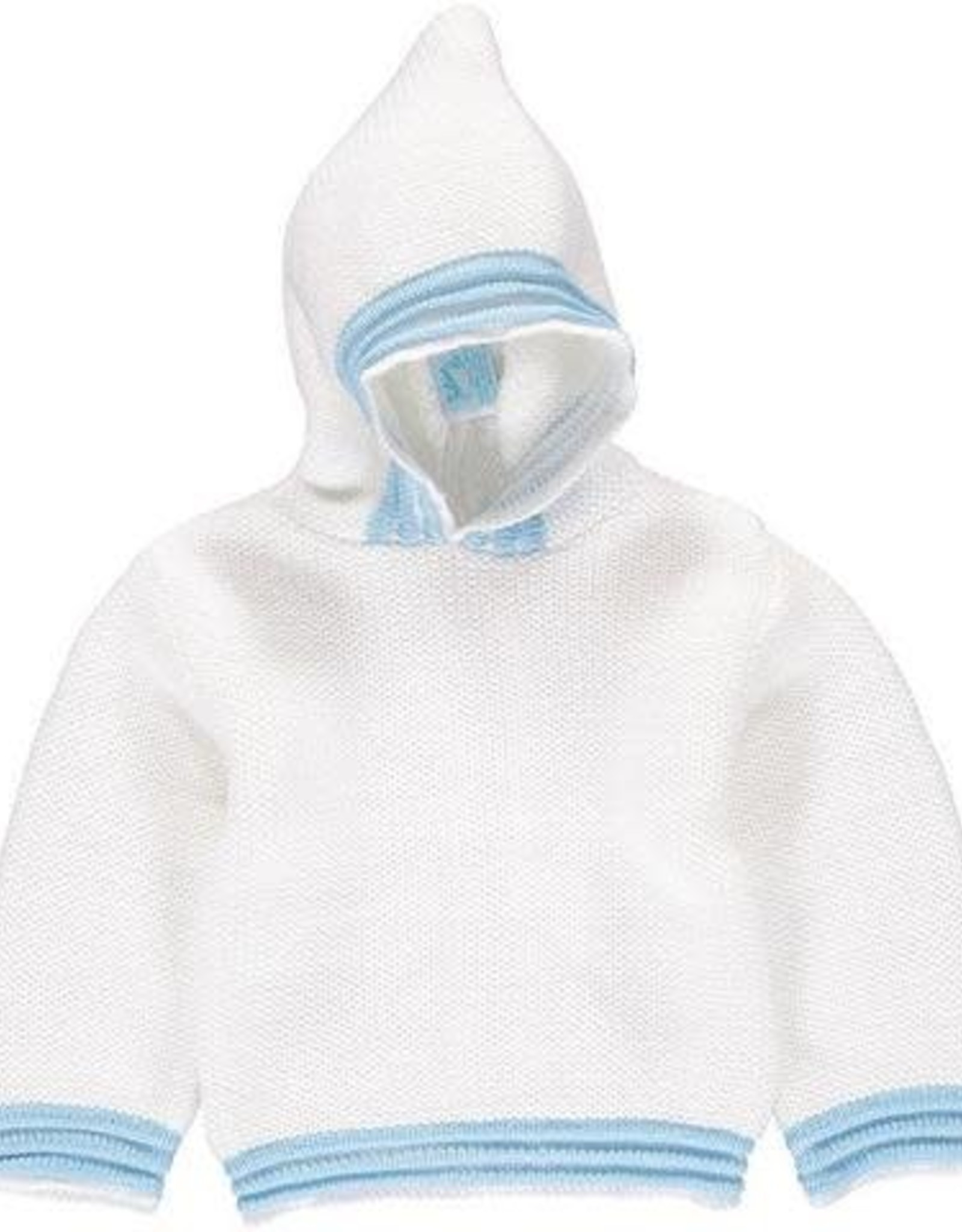 Carriage Boutique Acrylic White Blue Hooded Sweater