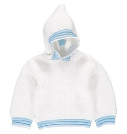 White Blue Acrylic Hooded Sweater