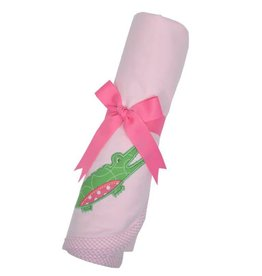 Three Marthas Receiving Blanket Pink Alligator
