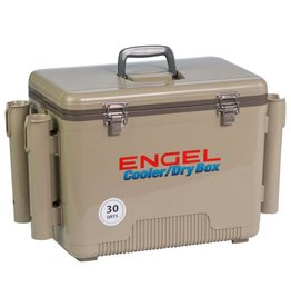 Engel 30Qt w/ 4 Rod Holders Tan Engel Ice/Dry Box