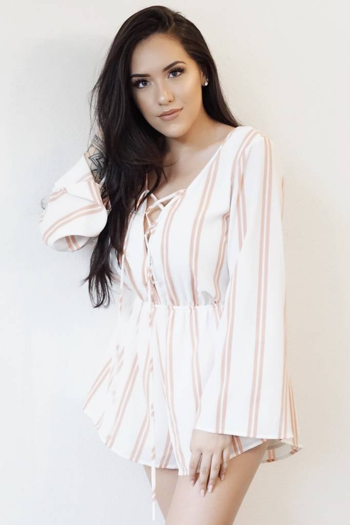 f214bf00ee Behind Rose Doors Playsuit - White Pink Stripe - Moxy Boutique Hawaii