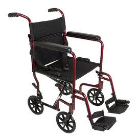 Probasics Aluminum Transport Wheelchair - Red