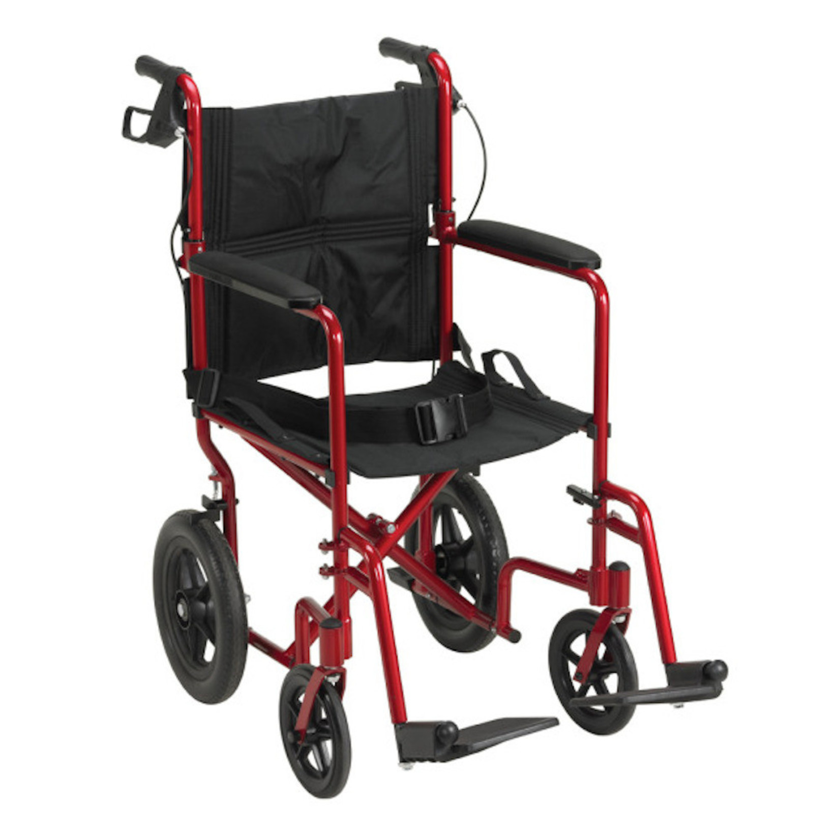 Drive Medical Transport w/ Hand Brakes Red