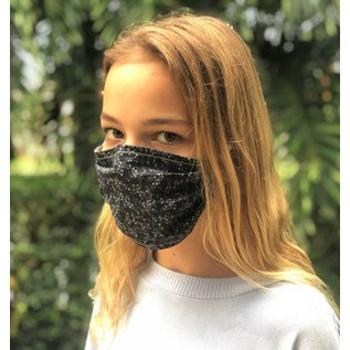 Adult Face Mask Reversible Grey Parquet/Blk Dots
