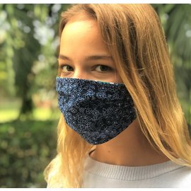 Face Cover - Reversible Green Star/Navy Floral - Adult Med