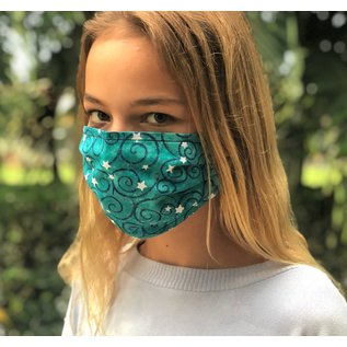 Adult Face Mask Reversible Green Star/Navy Floral