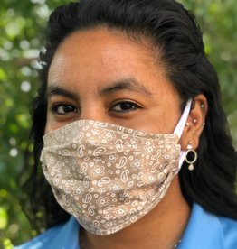 Face Cover - Reversible Beige Polka/Paisley - Adult Med
