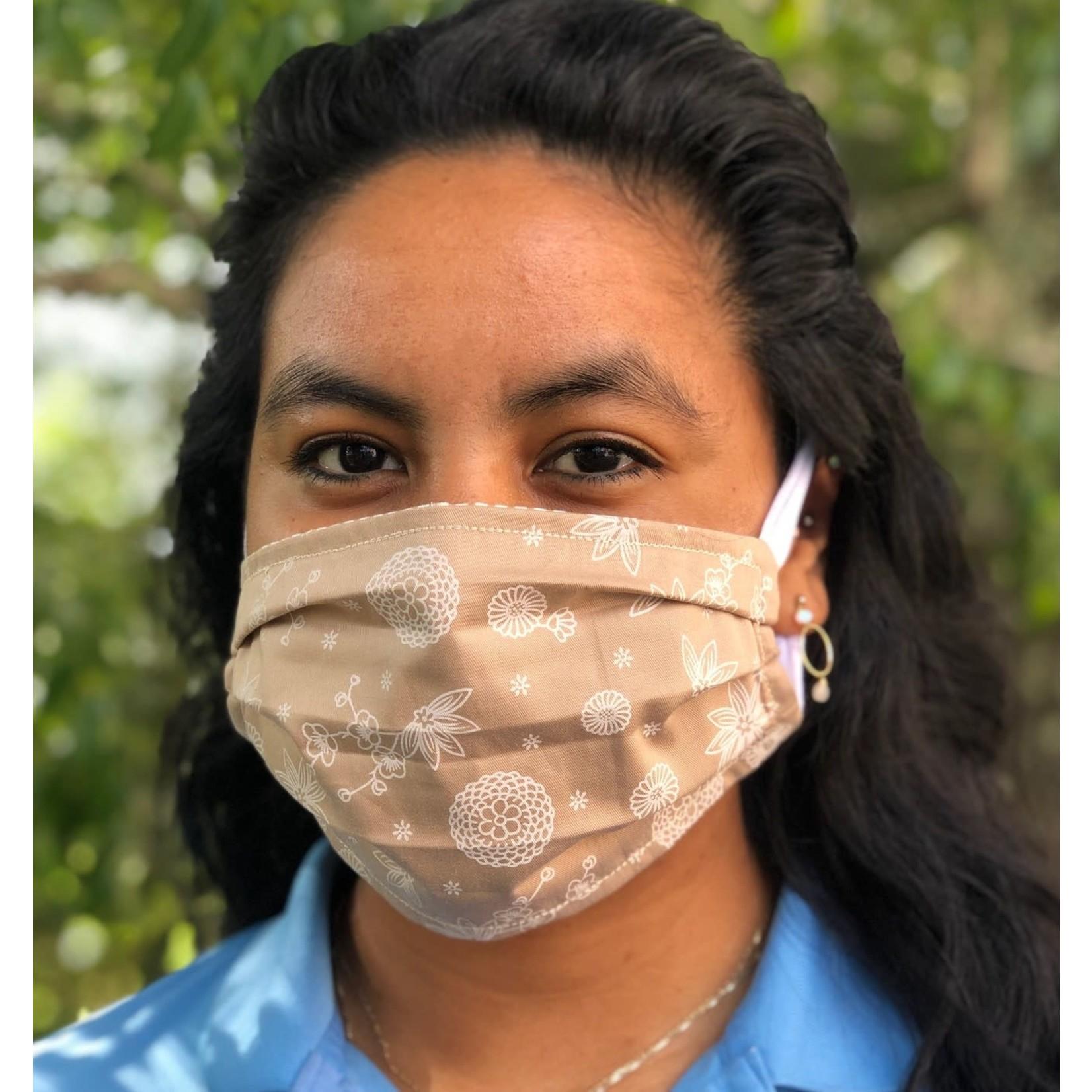 Face Cover - Reversible Beige Floral/Stripe - Adult Med