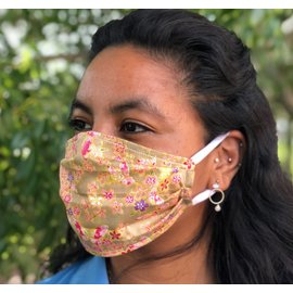 Face Cover - Reversible Beige Pink Floral/Circles - Adult Med