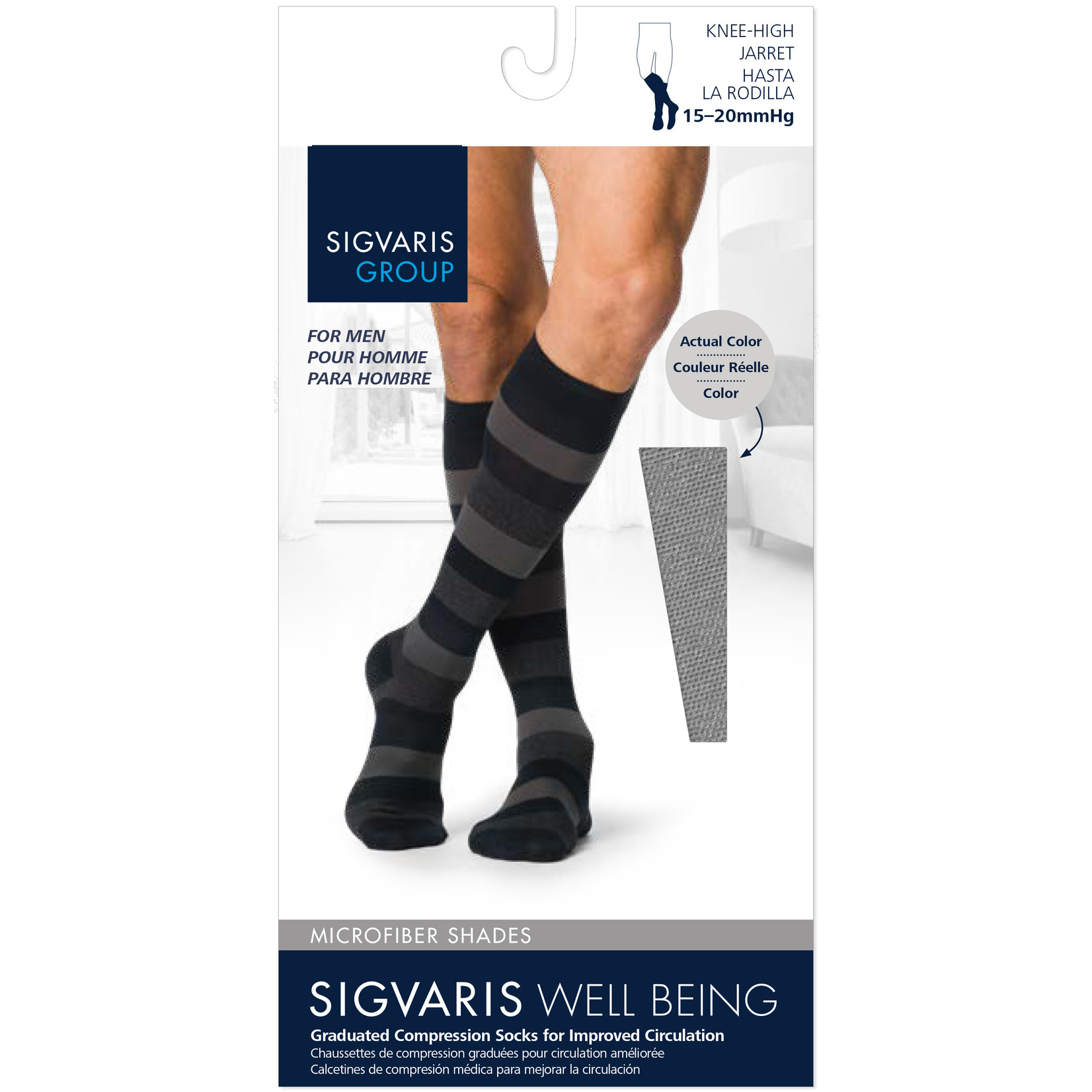 SIGVARIS Men's Microfiber Shades Calf 15-20mmHg