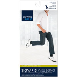 SIGVARIS Men's Casual Cotton Calf 15-20mmHg