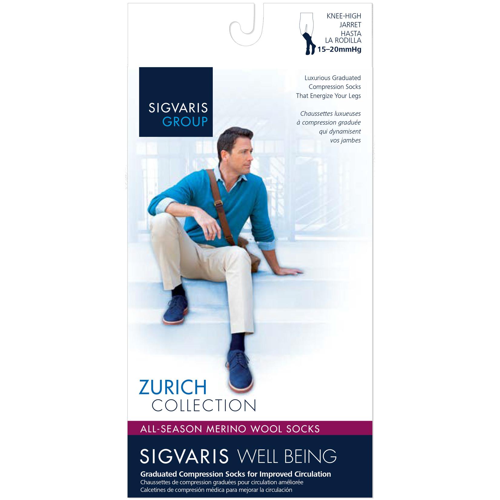 SIGVARIS Men's All-Season Merino Wool Calf 15-20mmHg