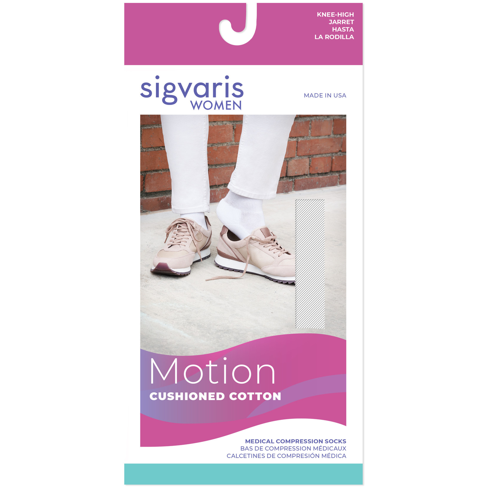 SIGVARIS Women's Motion Cushioned Cotton Calf 20-30mmHg