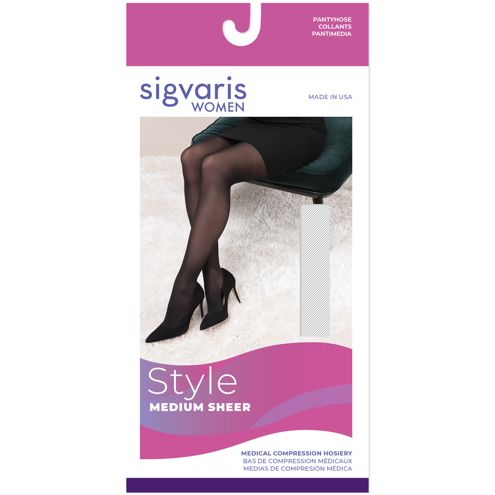 SIGVARIS Women's Style Medium Sheer Pantyhose 20-30mmHg