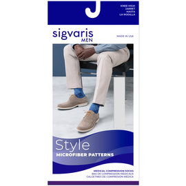 SIGVARIS Men's Style Microfiber Patterns Calf 20-30mmHg