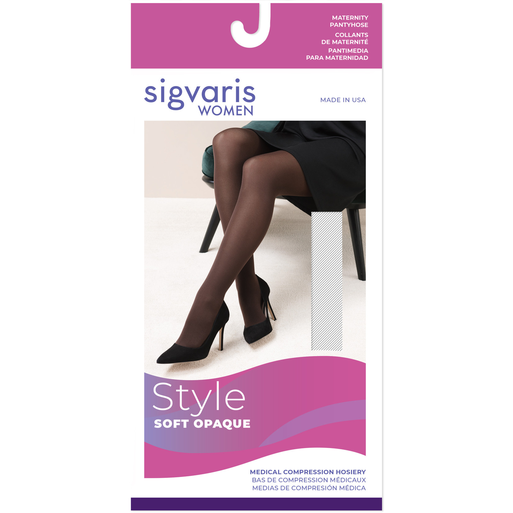 SIGVARIS Women's Style Soft Opaque Maternity-Black 20-30mmHg