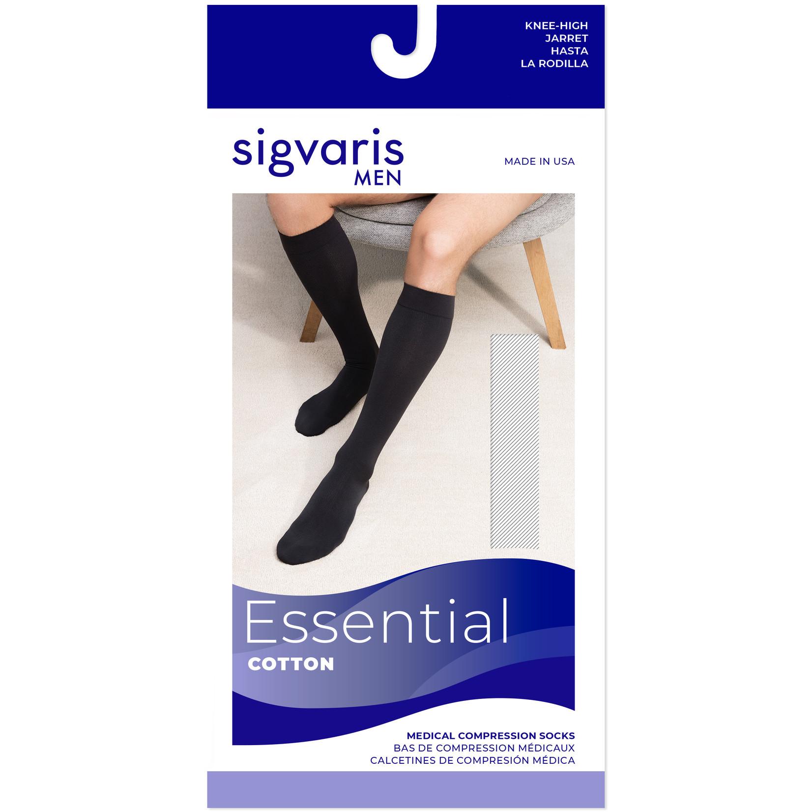 SIGVARIS Men's Essential Cotton Calf with Grip-Top