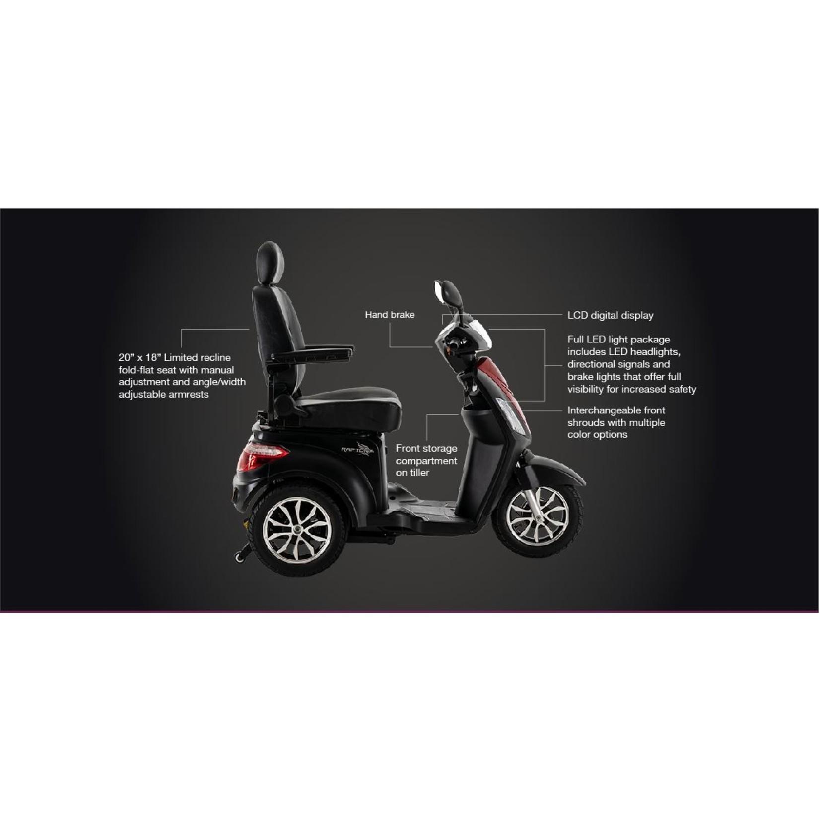 Pride Raptor (Black) 3-Wheel Scooter