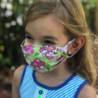 Face Cover - Reversible Kids Reversible Mask Bright Pink Green FloralFloral - Kids