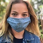 Face Cover - Reversible  -Blue-Orange-Print- Adult Med
