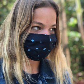 Face Cover - Reversible  -ALaserParty-BlueDots Adult Med