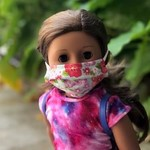 """Face Cover - Reversible  -DOLL 18"""" Floral-PinkPolkaDots"""