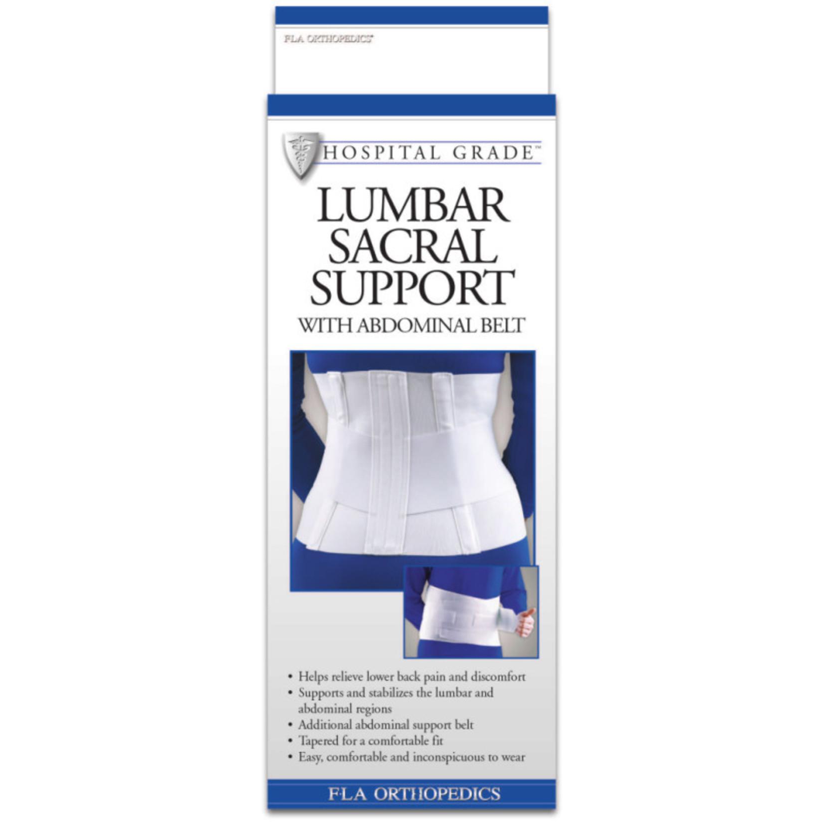 FLA Orthopedics LUMBAR SUPPORT SACRAL W/ABDOMINAL BELT 10IN WHITE