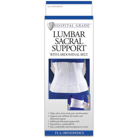 FLA Orthopedics LUMBAR SUPPORT RETAIL SACRAL W/ABDOMINAL BELT 10IN WHITE