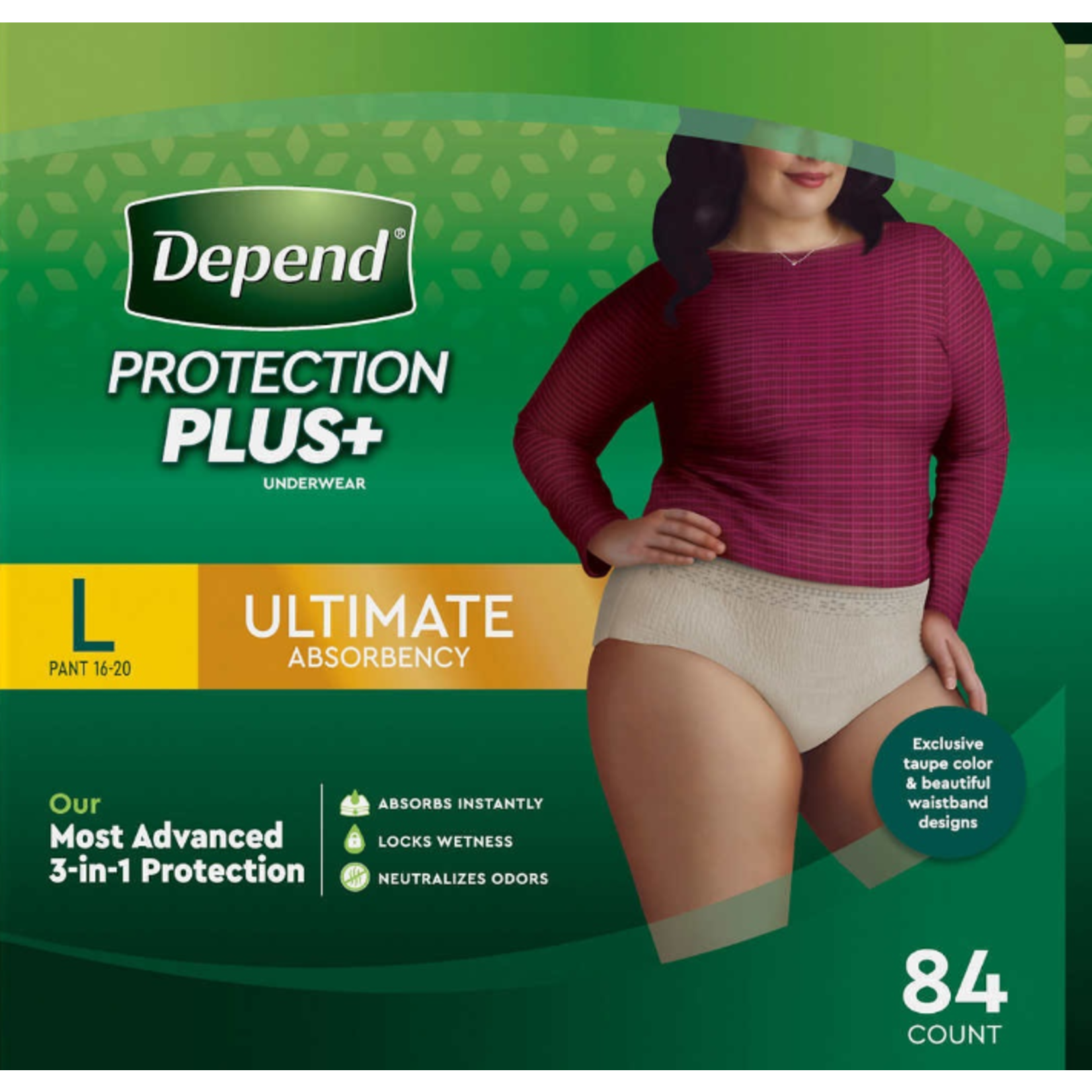 Depends Depends Protection Plus - Women's Large - 84 Pack