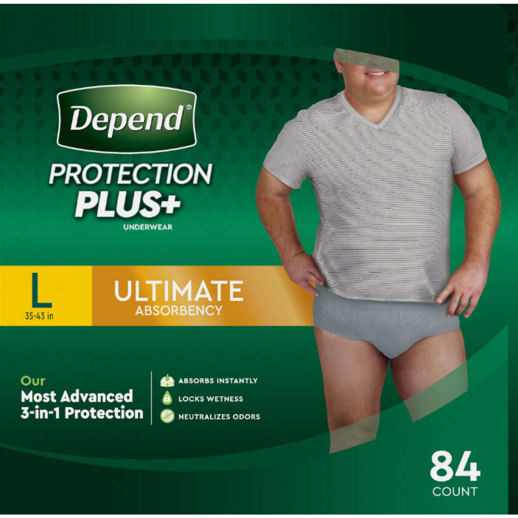 Depends Depends Protection Plus - Men's Large - 84 Pack