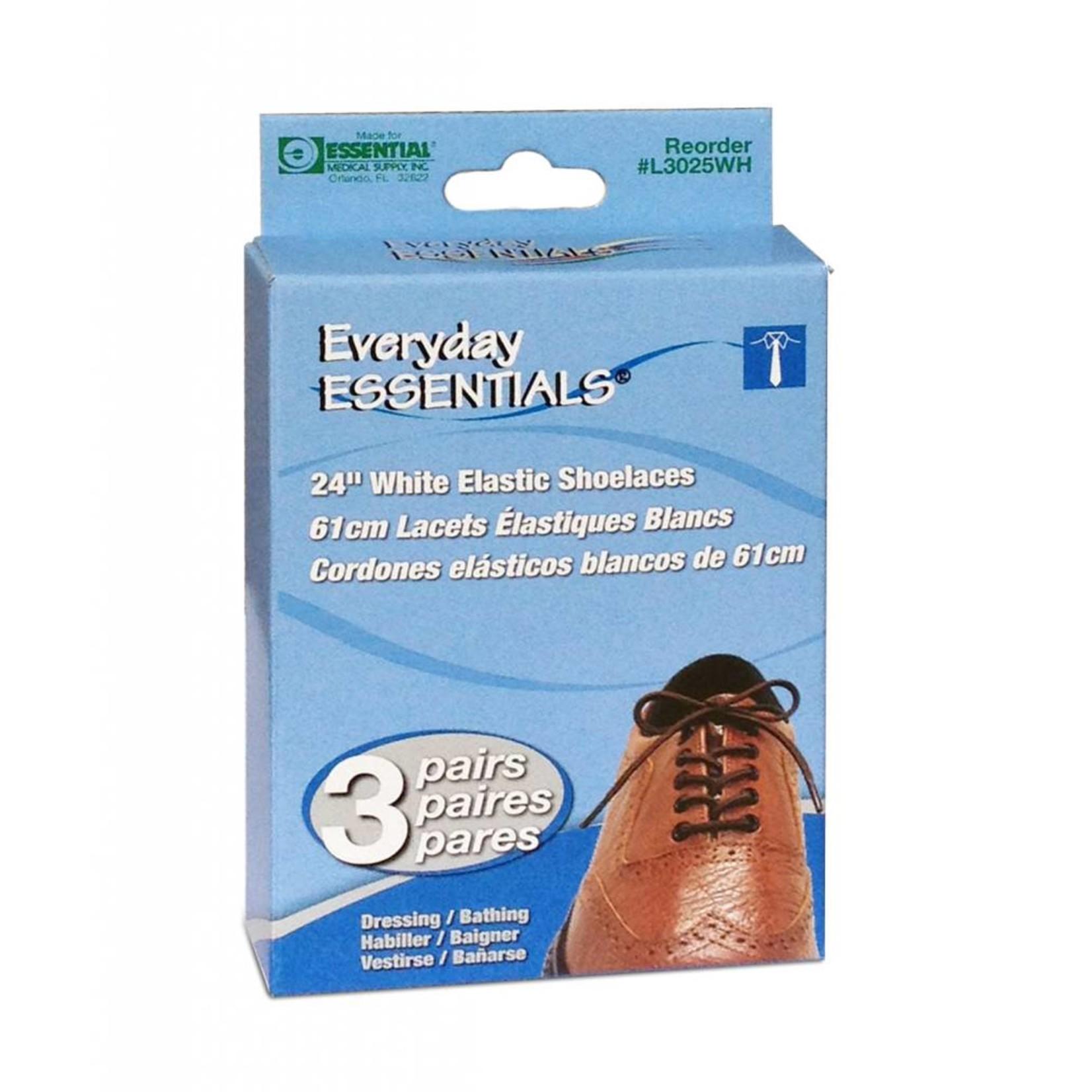 Essential Medical Elastic Shoelaces White