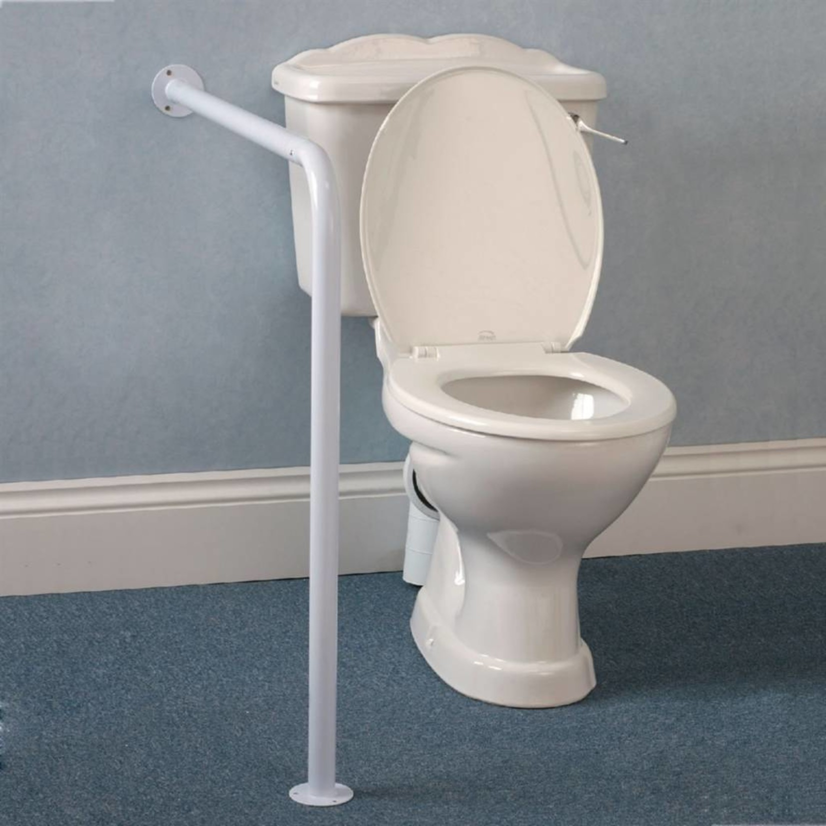 Wall to Floor Grab Bar - White