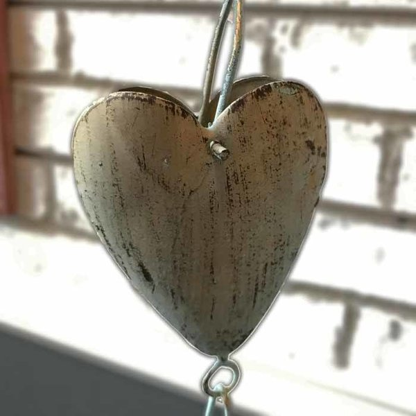 Gold Patina Heart Rain Chain