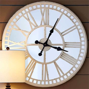 Cream Mirror Clock SHIPS FREE