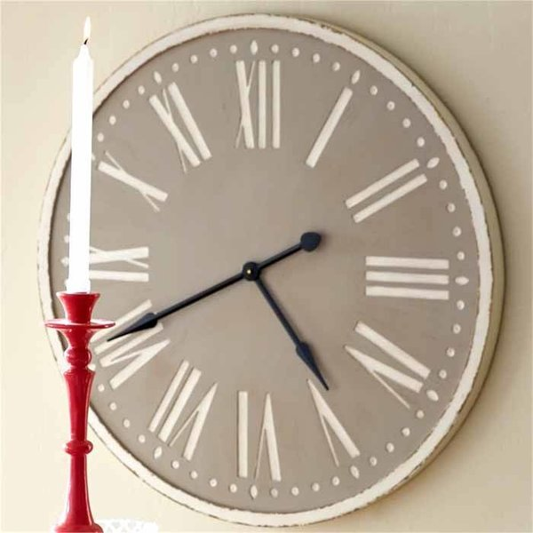Taupe Wooden Clock SHIPS FREE