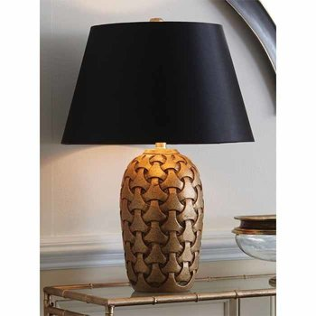 Gold Carved Wood Lamp SHIPS FREE